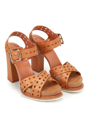 Tod'S: sandals online - Drilled leather heeled sandals