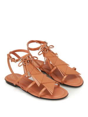 Tod'S: sandals online - Fringed leather sandals with logo