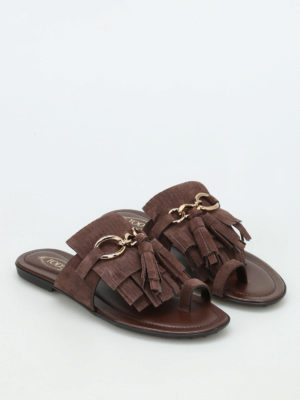 Tod'S: sandals online - Fringed suede flat thong sandals