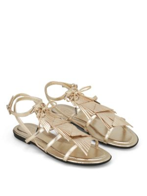 Tod'S: sandals online - Gold leather fringed cage sandals