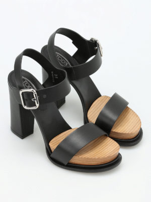 Tod'S: sandals online - Leather platform sandals