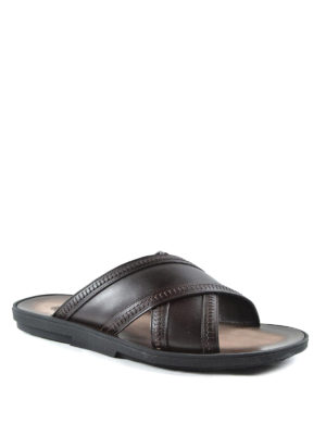 Tod'S: sandals online - Leather slide sandals