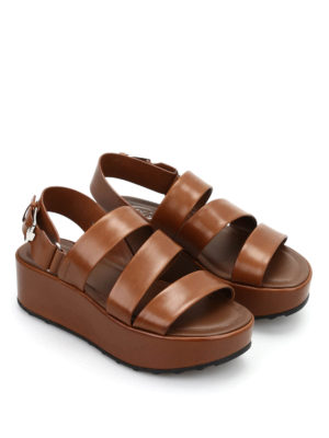 Tod'S: sandals online - Leather wedges