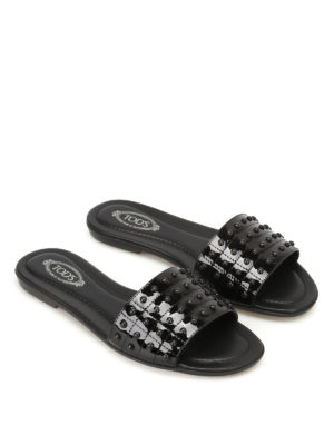 Tod'S: sandals online - Pebbled patent slide sandals
