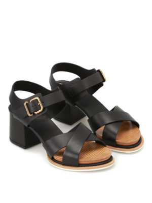 Tod'S: sandals online - Smooth leather heeled sandals
