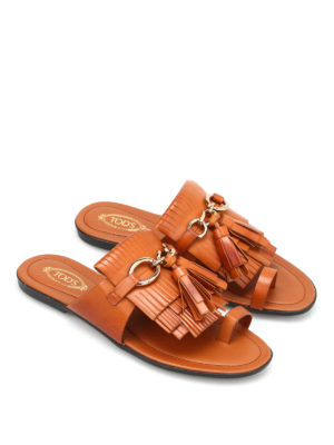 Tod'S: sandals online - Thong fringed flat sandals