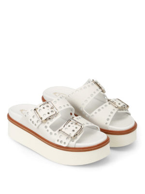 Tod'S: sandals online - White drilled leather strap sandals