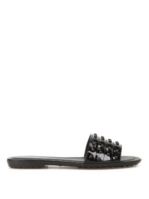 Tod'S: sandals - Pebbled patent slide sandals