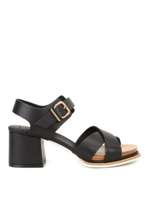 Tod'S: sandals - Smooth leather heeled sandals