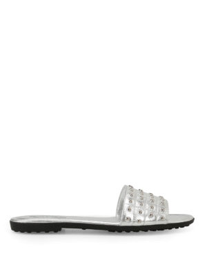 Tod'S: sandals - Studded silver leather slide sandal