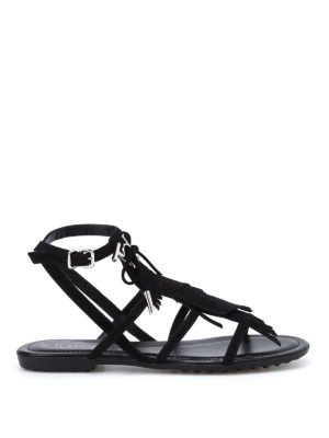 Tod'S: sandals - Suede sandals with logo