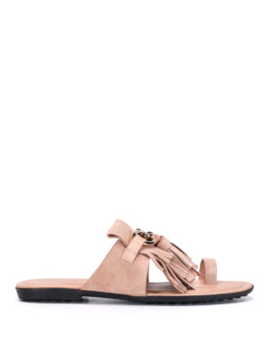 Tod'S: sandals - Thong fringed flat sandals