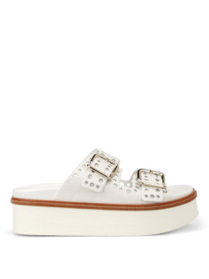 Tod'S: sandals - White drilled leather strap sandals