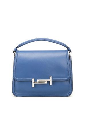 TOD'S: borse a spalla - Tracolla Double T media blu