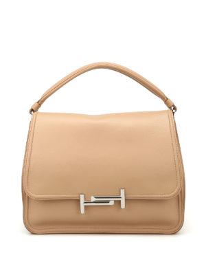 TOD'S: borse a spalla - Tracolla Double T media beige