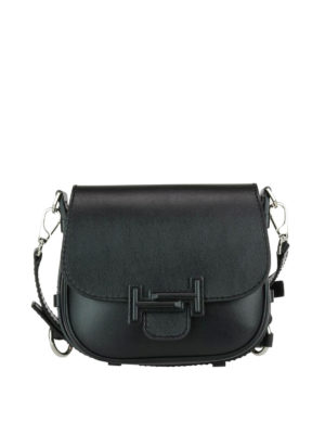 Tod'S: shoulder bags - Double T black leather saddle bag