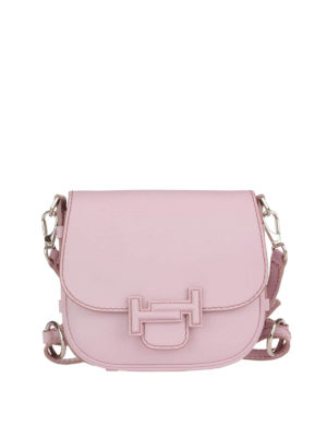 Tod'S: shoulder bags - Double T pink leather saddle bag