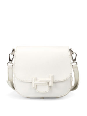 Tod'S: shoulder bags - Double T white leather saddle bag