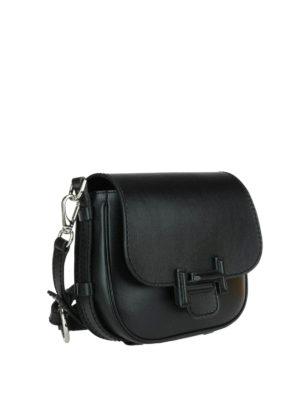 Tod'S: shoulder bags online - Double T black leather saddle bag
