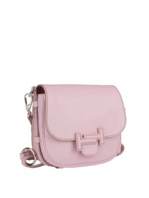 Tod'S: shoulder bags online - Double T pink leather saddle bag