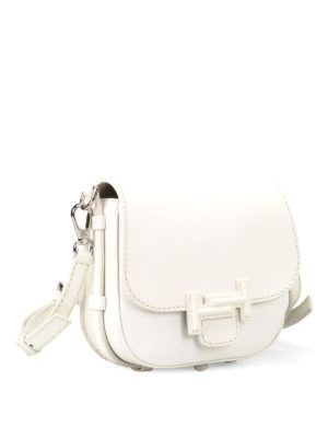 Tod'S: shoulder bags online - Double T white leather saddle bag