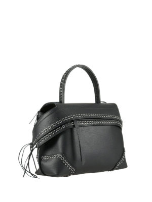 Tod'S: shoulder bags online - Small Wave black bag with eyelets