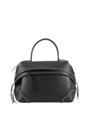 Tod'S: shoulder bags - Small Wave black bag with eyelets