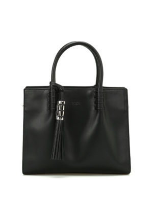 Tod'S: totes bags - Black leather structured tote