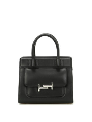 Tod'S: totes bags - Double T black smooth leather tote
