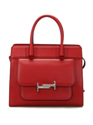 Tod'S: totes bags - Double T smooth red leather tote