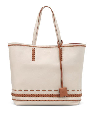 Tod'S: totes bags - Gipsy woven detailed two-tone tote