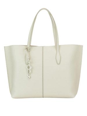 TOD'S: shopper - Shopper Joy grande in pelle bianca