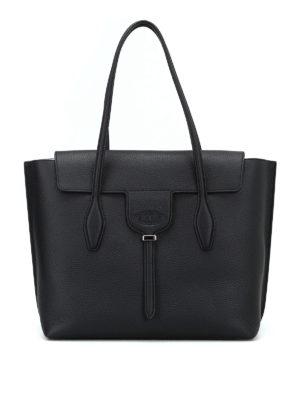 TOD'S: shopper - Shopper Joy M in pelle a grana nera