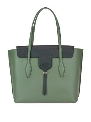 TOD'S: shopper - Tote media Joy in due tonalità di verde