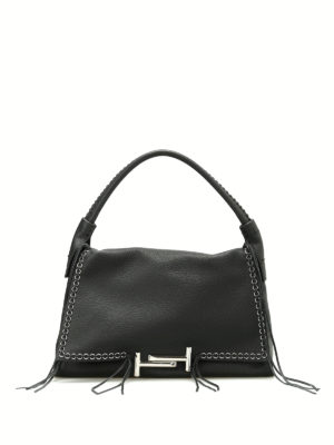 Tod'S: totes bags - Leather tote with fringes