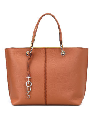 Tod'S: totes bags - Leather tote with yellow details