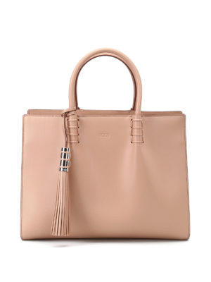 Tod'S: totes bags - Nude leather structured tote