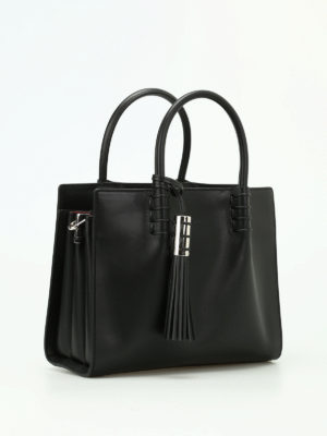 Tod'S: totes bags online - Black leather structured tote