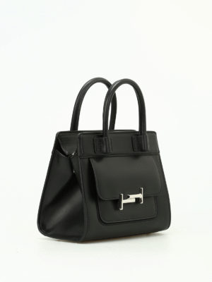 Tod'S: totes bags online - Double T black smooth leather tote