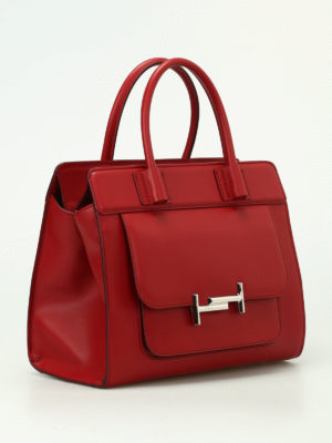 Tod'S: totes bags online - Double T smooth red leather tote