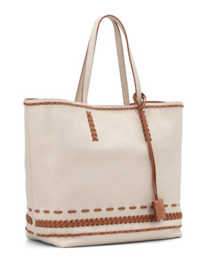 Tod'S: totes bags online - Gipsy woven detailed two-tone tote