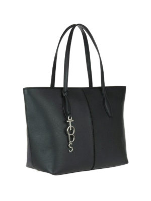 Tod'S: totes bags online - Joy logo charm black shopping bag