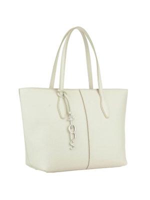 Tod'S: totes bags online - Joy logo charm white shopping bag