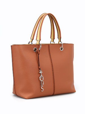 Tod'S: totes bags online - Leather tote with yellow details