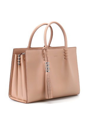 Tod'S: totes bags online - Nude leather structured tote
