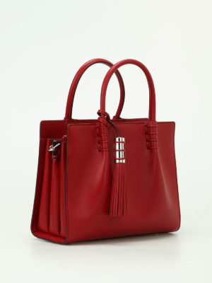 Tod'S: totes bags online - Red leather structured tote