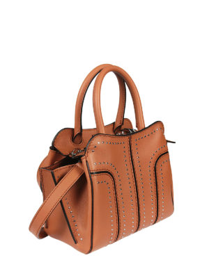 Tod'S: totes bags online - Sella leather studs bag