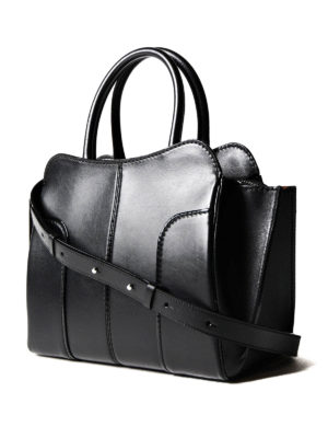 Tod'S: totes bags online - Sella small black leather tote