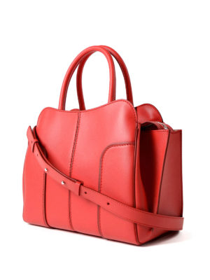 Tod'S: totes bags online - Sella small red leather tote