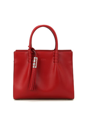 Tod'S: totes bags - Red leather structured tote